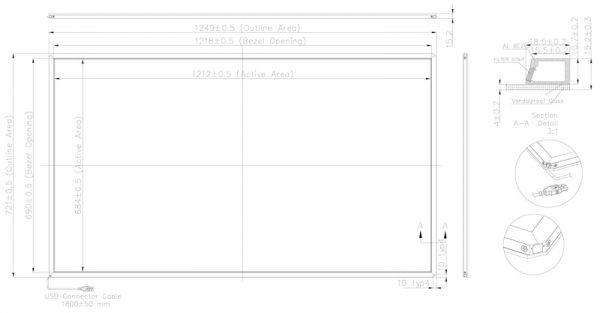 Panel-Tactil-IR-de-55″-Multi-Touch-diagrama-55-pulgadas